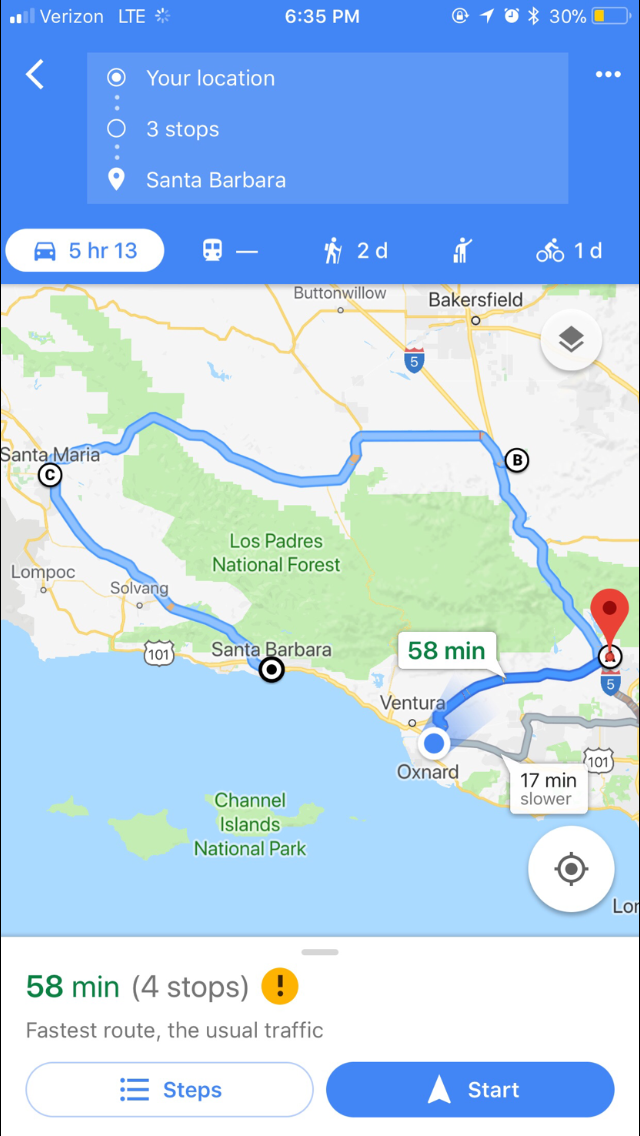 The only way to Get to Santa Barbara.