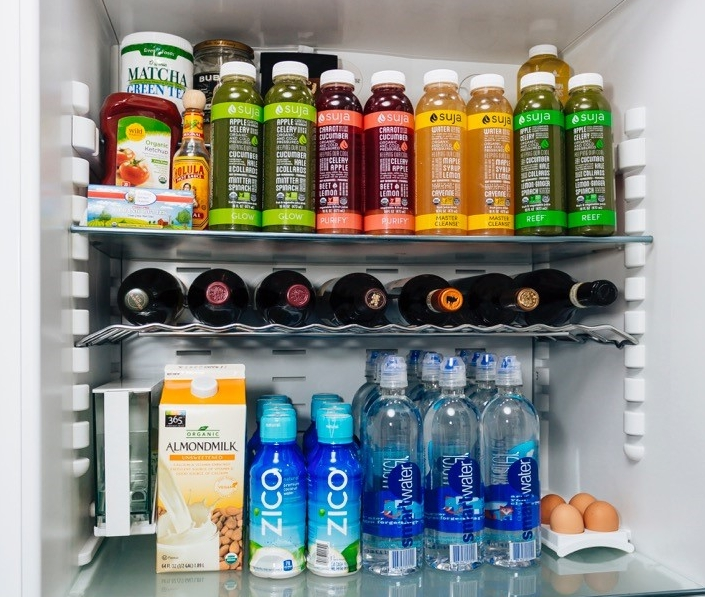 Nastia's fridge is full of healthy snacks