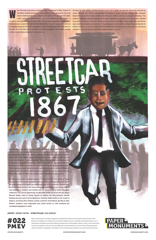 Poster of the 1867 Streetcar Protest for Paper Monuments