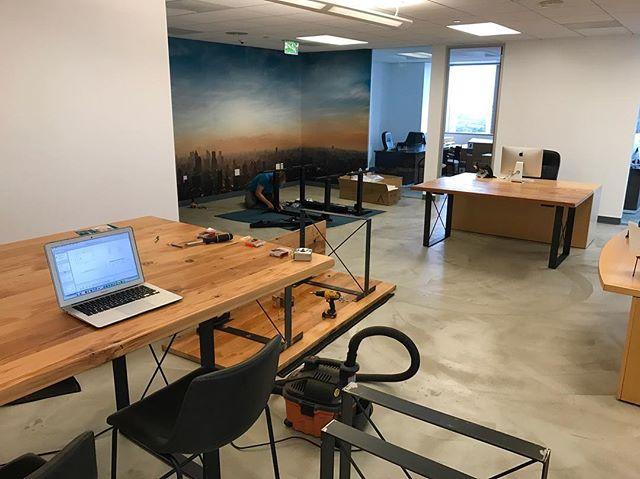 Beginning installation for @devonfranklin & Franklin Entertainment #custom #workspace #furniture