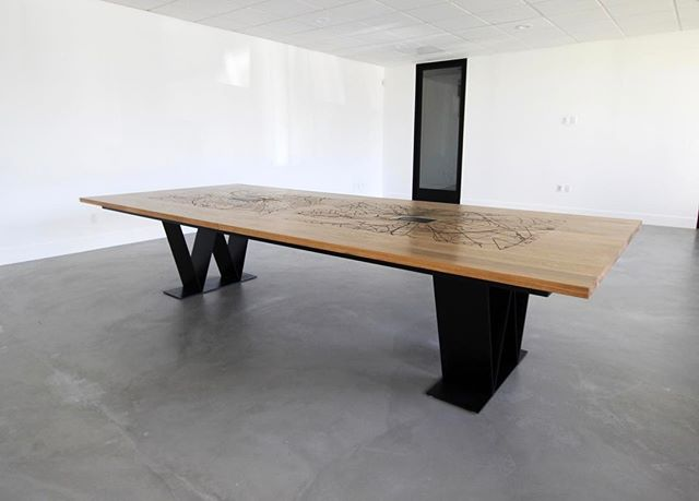 Proud to show off this custom conference table we built for Will and Jada Smith.  Surface engraved with maps of hometowns, Philly and Baltimore. #custom #design & #fabrication