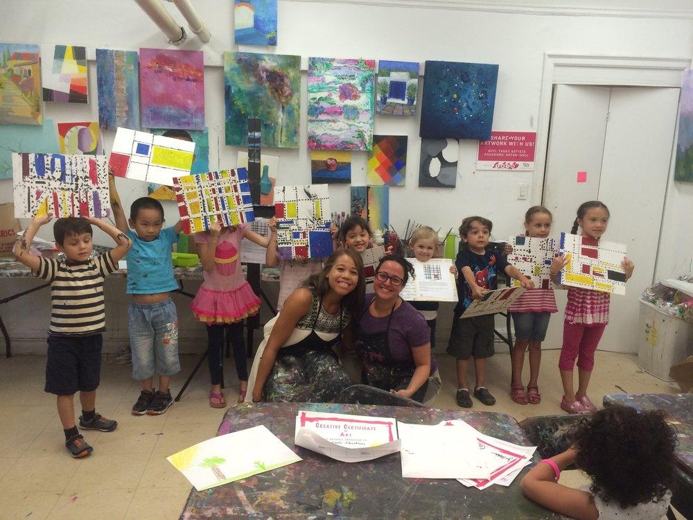 Mj Batson with art class showing art