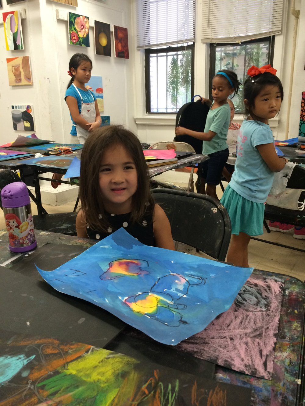 Student making art