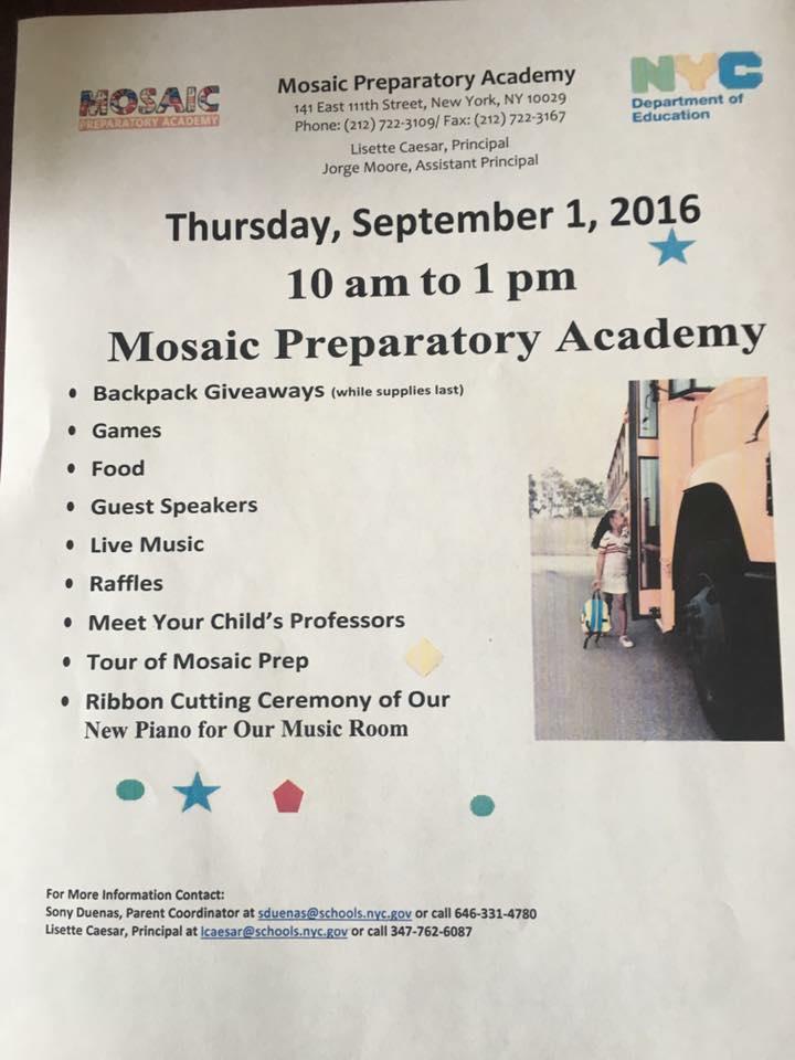 Sept. 1st @ Mosaic Prep Elementary (Harlem, NYC)