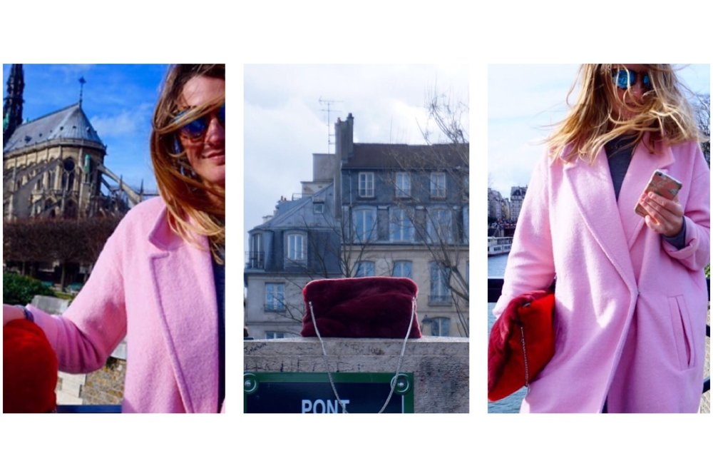 Clemence wearing NIGHT clutch bag in Paris
