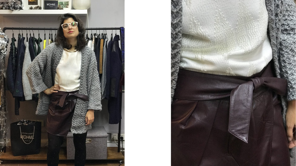 Helene's outfit She wears MOHME  NOEUD skirt , MOHME  MIAMI top , ZARA oversized cardigan and BOCAGE leopard boots