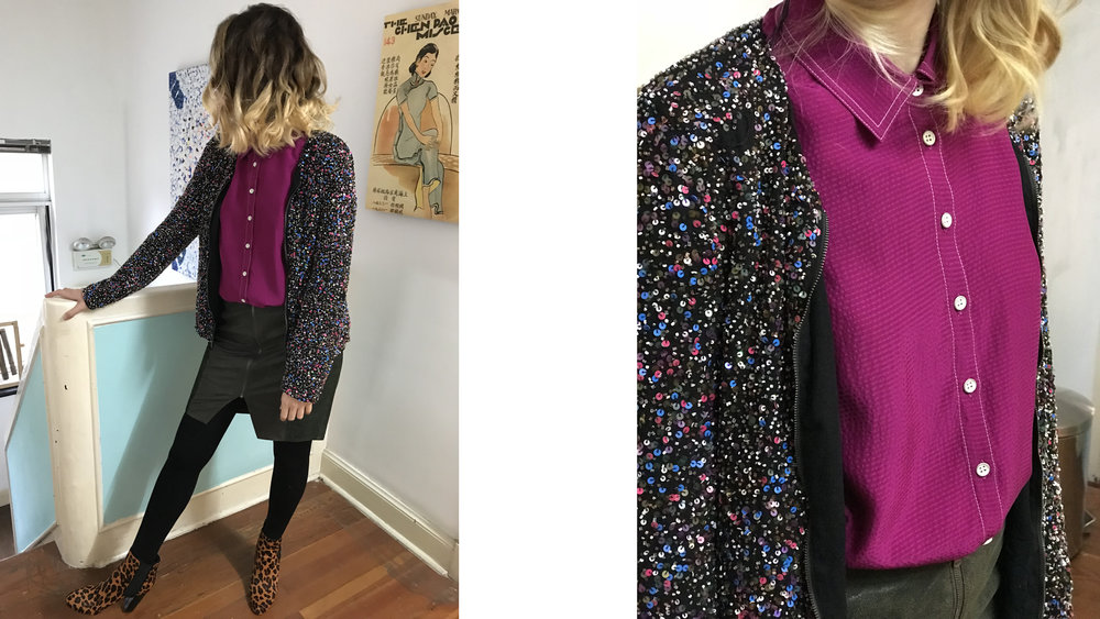 Maude's outfit She wears MOHME  NARCO leather skirt , MOHME  PURPLE shirt , ZARA sequins jacket and BOCAGE leopard boots