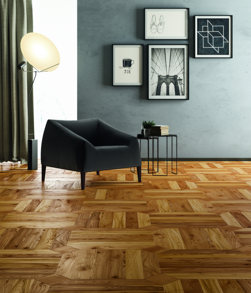 Quadrotte Follonica in brushed and oiled Rustic European Elm.