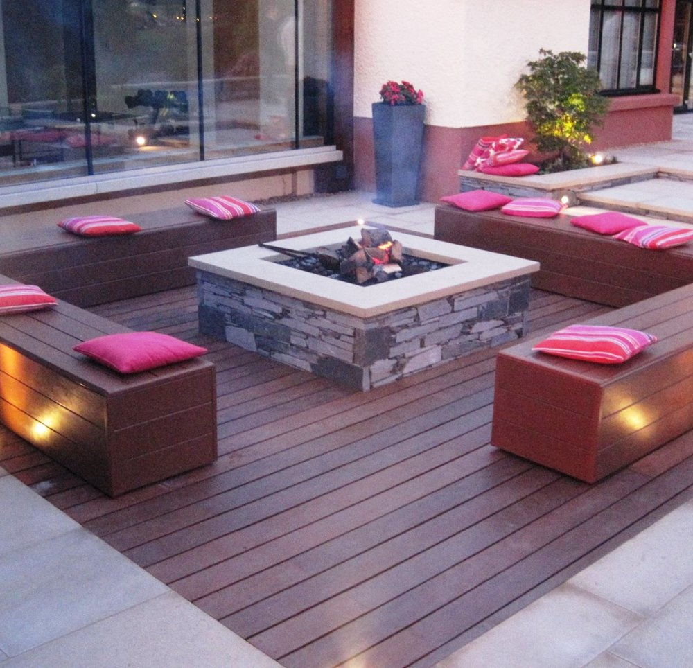 Iroko Deck and Slate Firepit
