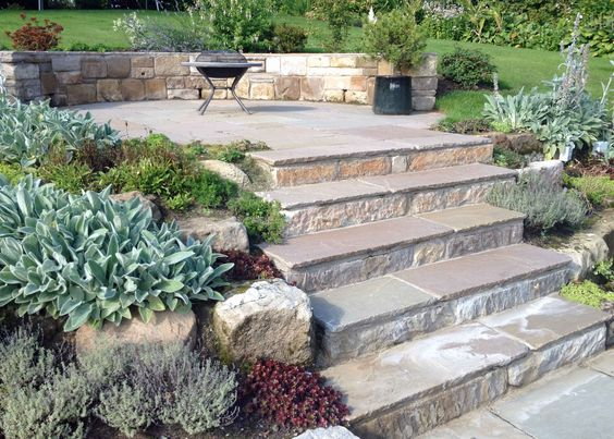 Glasgow garden design Eaglesham stone steps.jpg