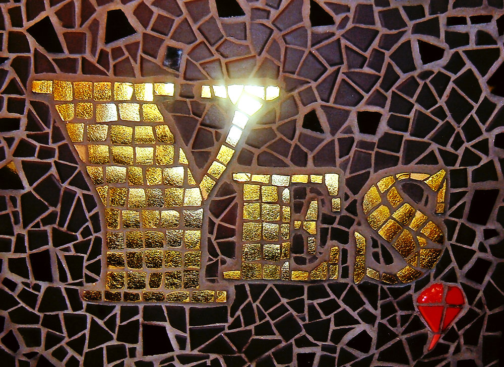 "One of a series of ""Yes, ..."" mosaics to encourage the viewer to consider that anything is possible, anything you set your mind to. Ceramic tile, recycled gold glazed china, smalti.  Approx. 13ins. x 15ins."