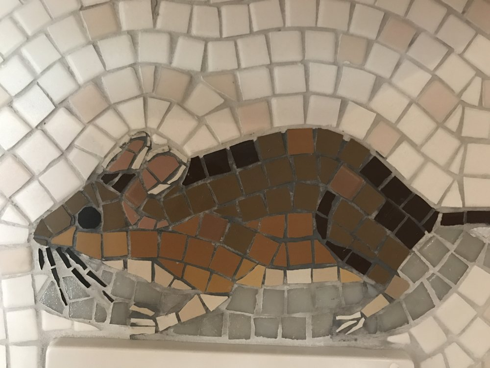 Mousey looking for his cheese ... section of a mosaic installation
