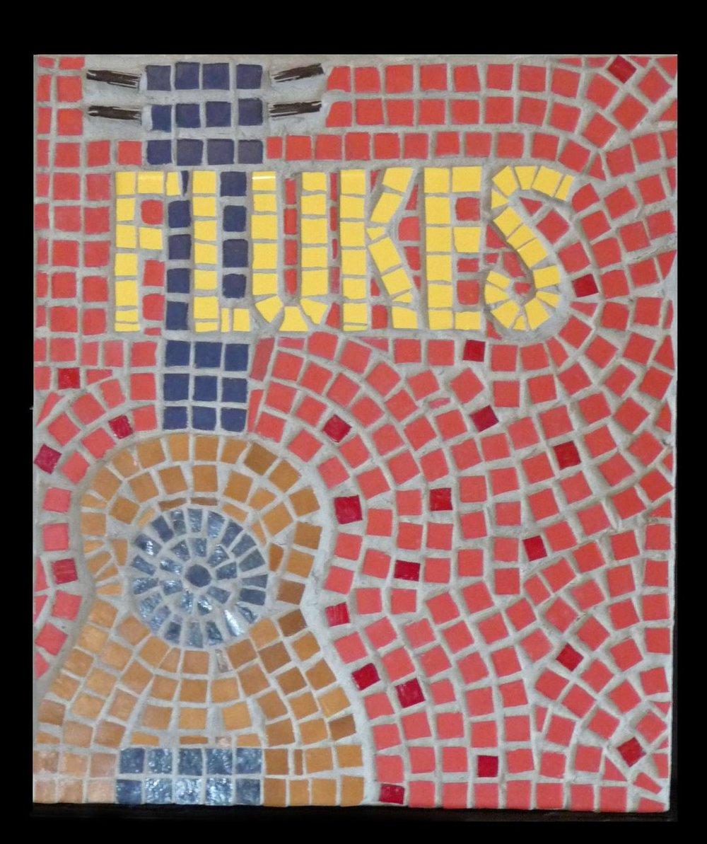 """Ukulele band """"Flukes"""" poster in mosaic."""