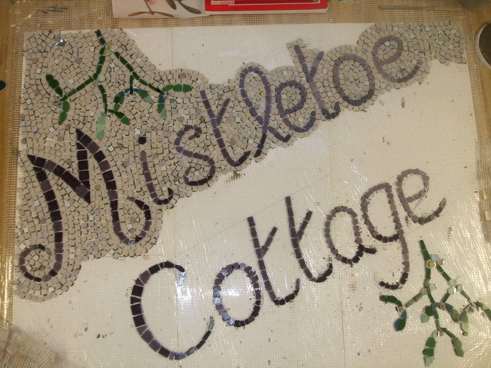"""Mistletoe Cottage"" house name plate. Work in progress ..."