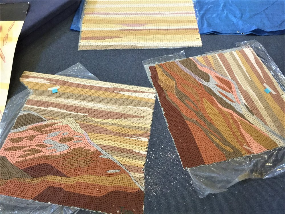 Mosaic in panels ready for installation.