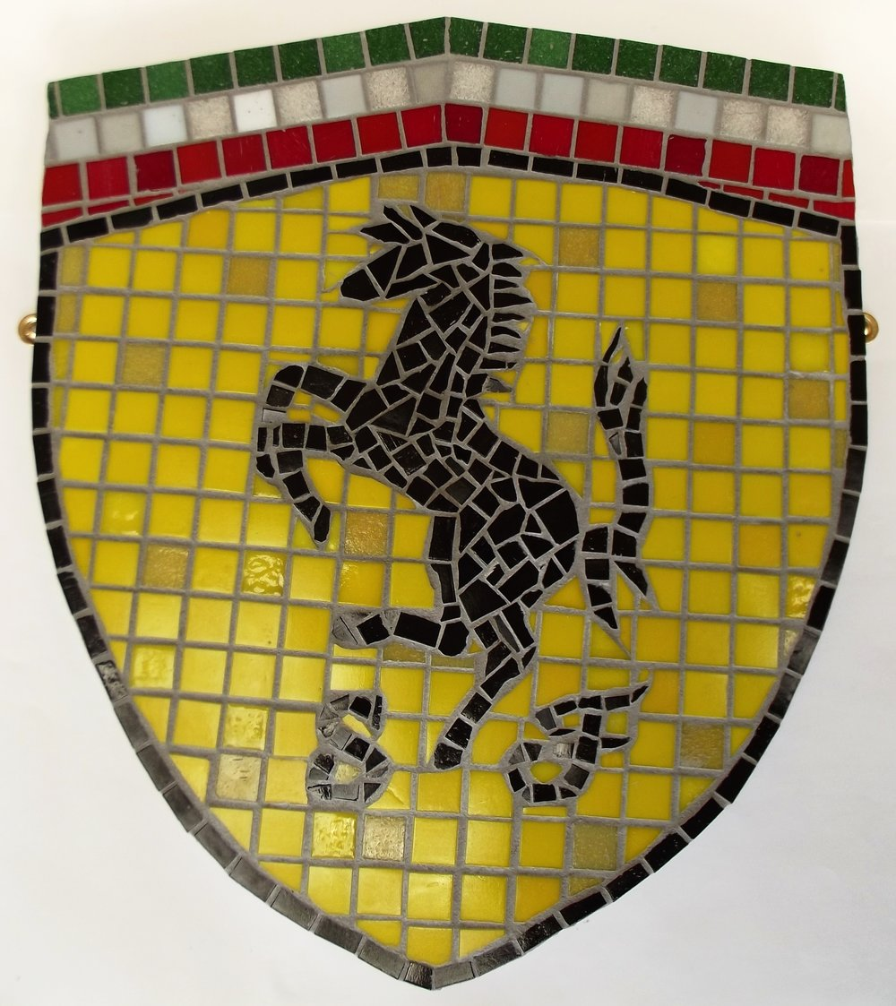 """Ferrari"" badge. Vitreous glass on board. Approx. 15-1/2 ins. x 17-1/4 ins.  FOR SALE please go to Contact page."