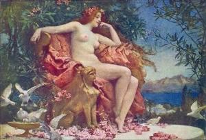 Feminine, voluptuous goddess of Love - Venus Enthroned