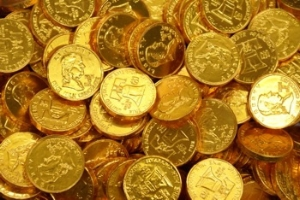 'Dark gold' currency of the Aztecs – milk chocolate gold coins picture credit: niftynuthouse.com