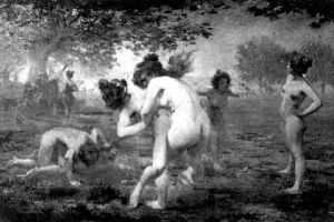 "Female spartan wrestlers – no right hooks now! Credit: Emmanuel Groise ""Spartan Girls"" 1903"