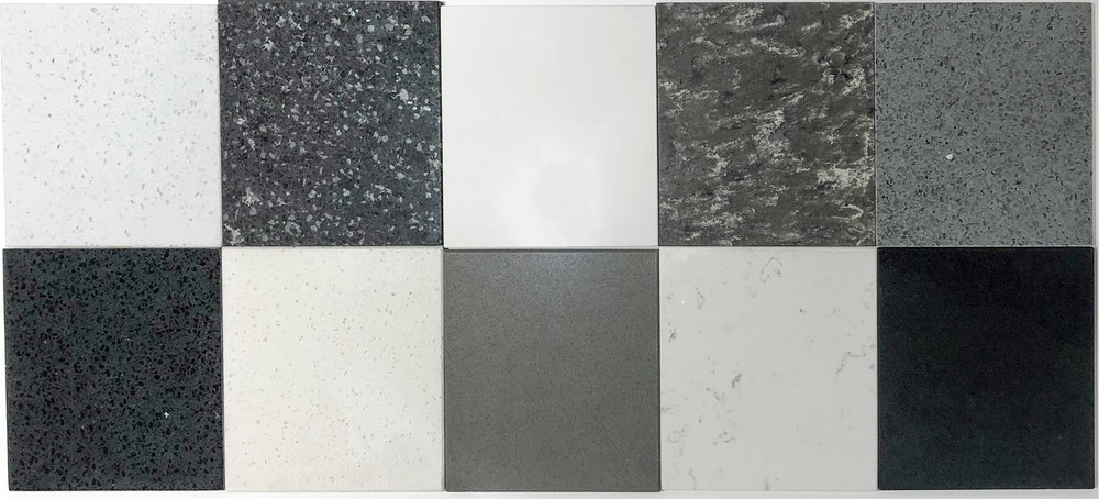 Top from left to right: Diamond White Sparkle, Black Mirror Sparkle, Pale White, Tundra, Pewter Grey    Bottom from left to right: Black Onyx Sparkle, White Jasmine, Warm Grey, Alba, Anthracite