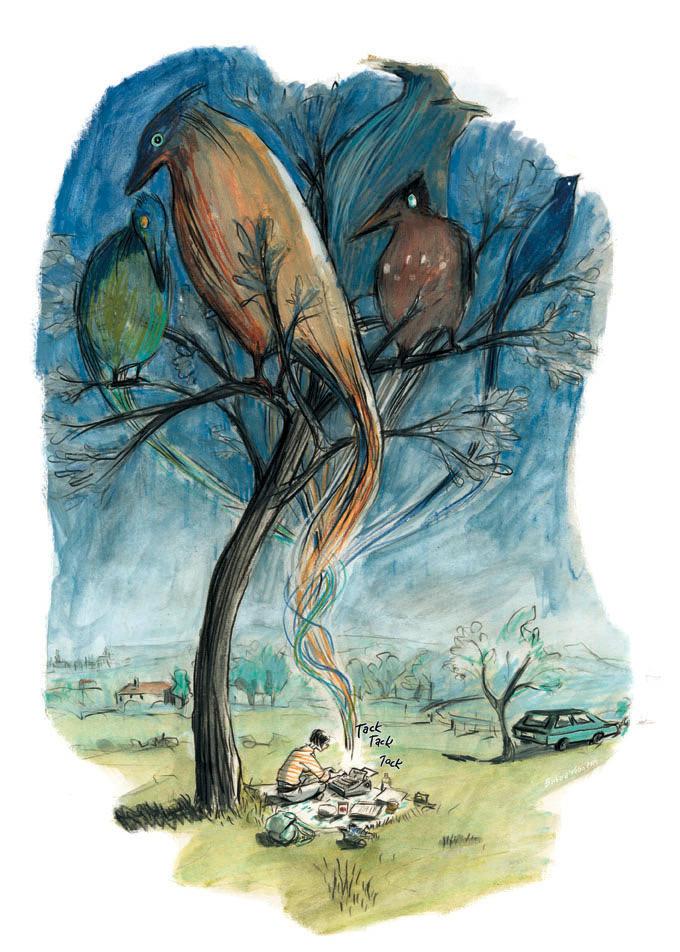 Illustration für die Literaturseite der Süddeutschen Zeitung,Januar 2015