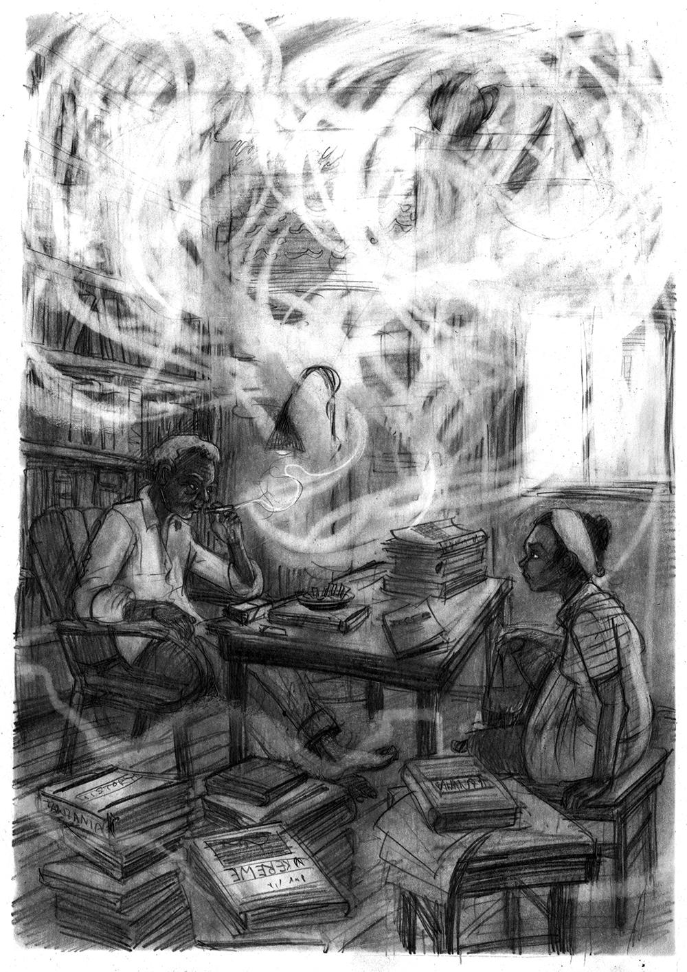 """Illustration zu """"   Lady Happy und der Zauberer von Ukerewe """" von Hermann Schulz, Aladin Verlag 2016"""