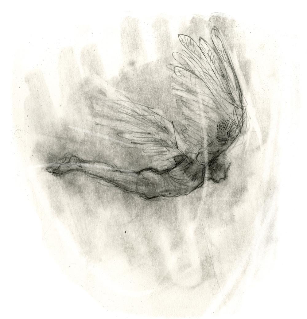 """Cover-Illustration zu """" Krisendämmerung – Ikarus flieg weiter  """"            von Ilma Bachmann, 2016,"""