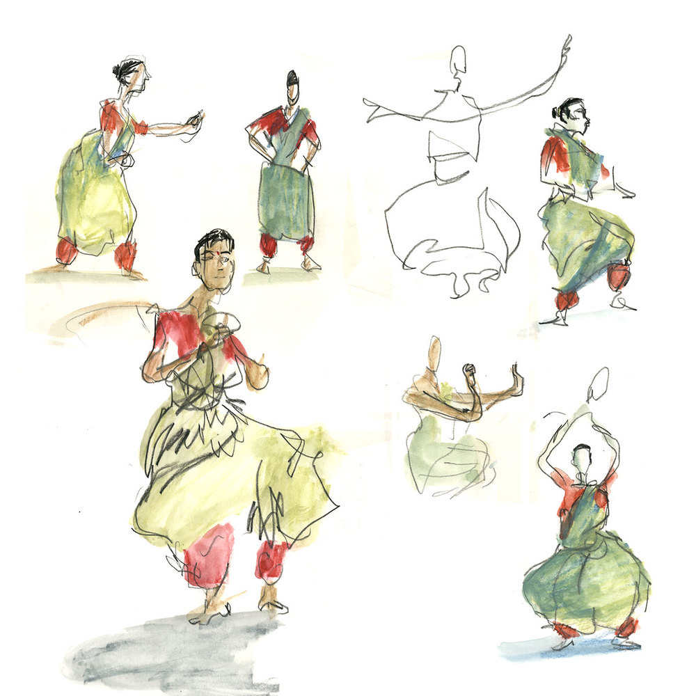 Sketches from India: Women dancers in Nrityagram, Bengalore, 2016
