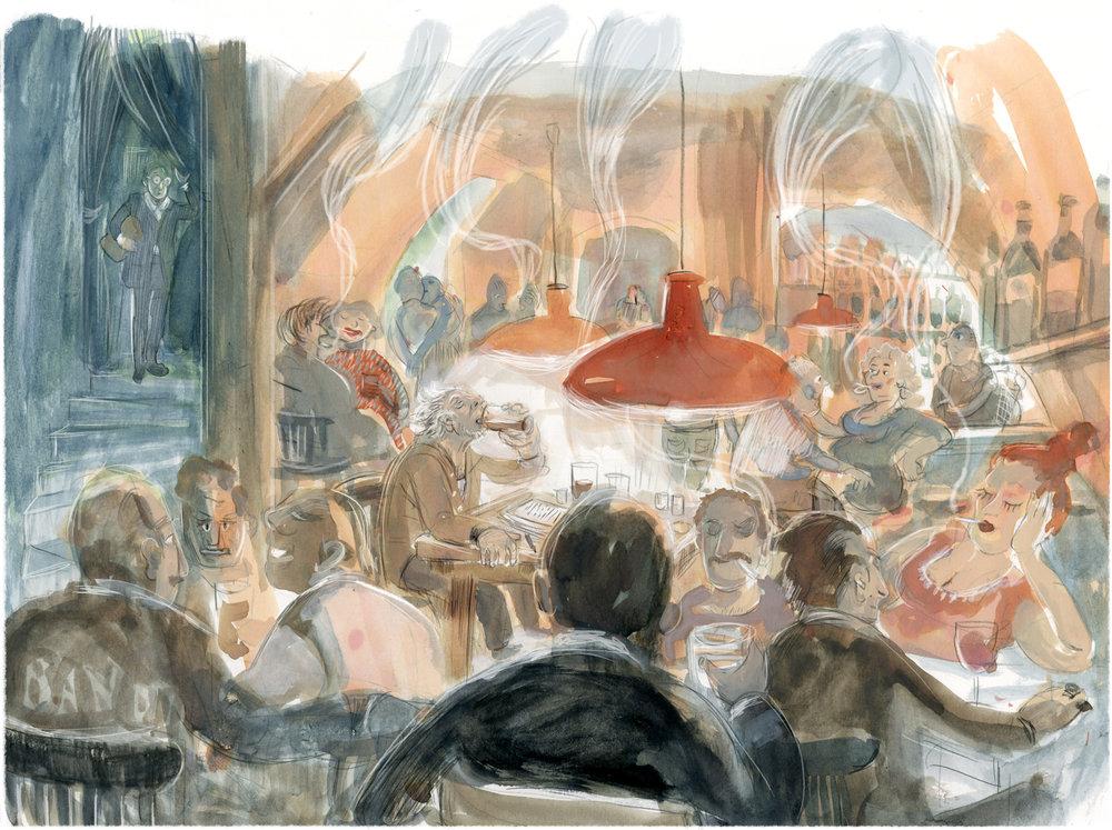 """Literaturbeilage der FAZ im Oktober 2018, Illustration zur Buchrezension """"Den blinden Göttern"""", Steven Uhly"""