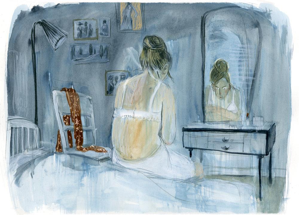 """Literaturbeilage der FAZ im Oktober 2018, Illustration zur Buchrezension """"Erinnerung eines Mädchens"""", Annie Ernaux"""