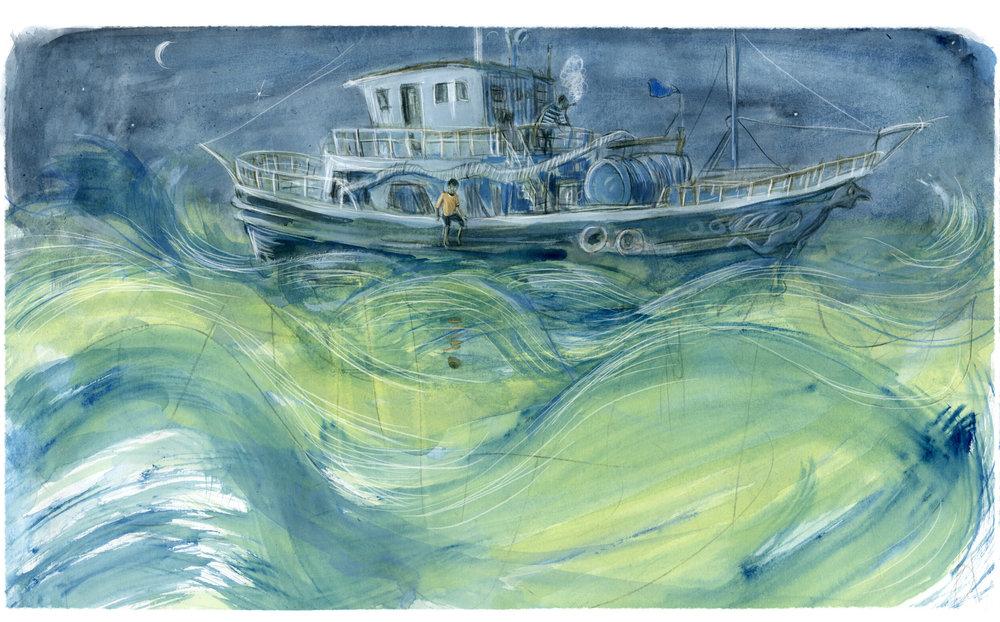 """Literaturbeilage der FAZ im Oktober 2018, Illustration zur Buchrezension """"Kompass ohne Norden"""", Neal Shusterman"""
