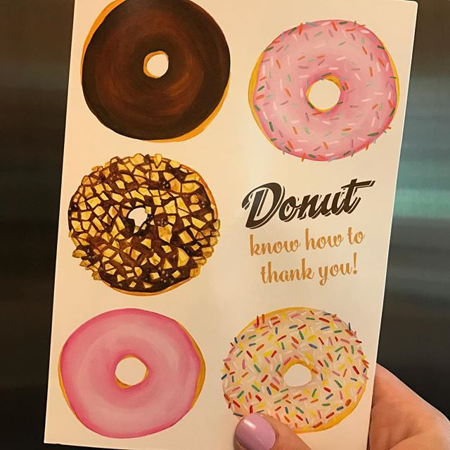 Cue Golden Girls theme song. 🍩🍩 The best thank you card I've ever received thanks to @frostfinery — and yes, I did scroll to find this in my camera roll. #nationaldonutday