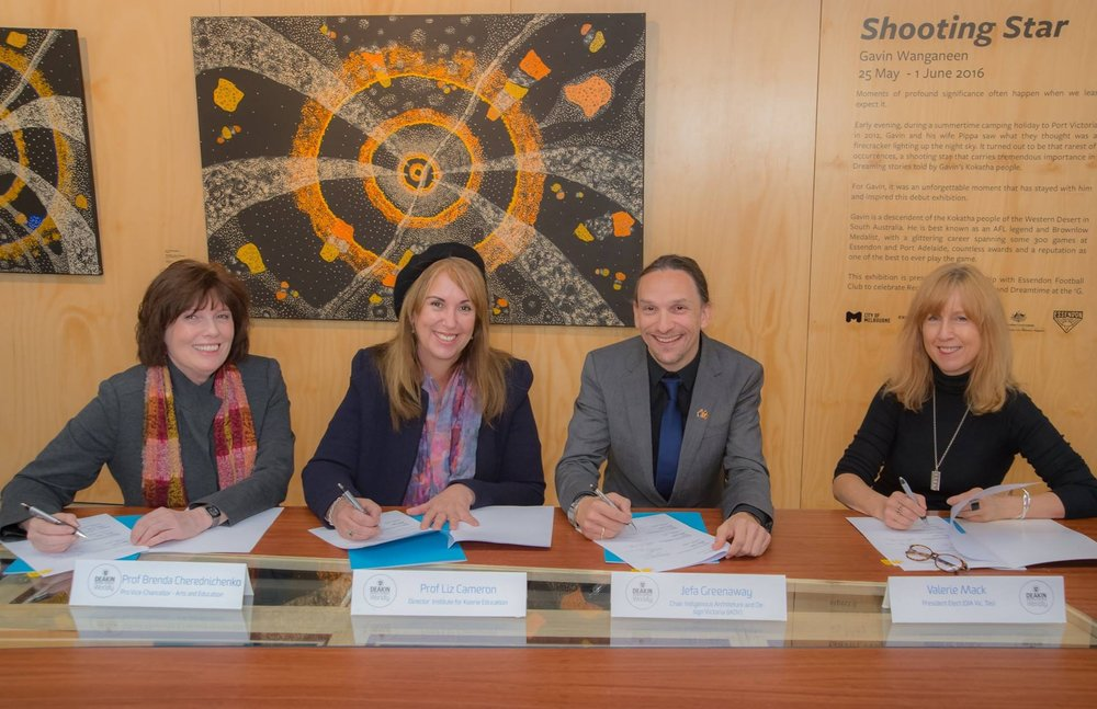 Indigenous Design MOU Signatories: Prof. Brenda Cherednichenko, Faculty of Arts and Education, Deakin University; Prof. Liz Cameron, Institute of Koorie Education, Deakin University; Jefa Greenaway, Indigenous Architecture and Design Victoria; Valerie Mack, Design Institute of Australia