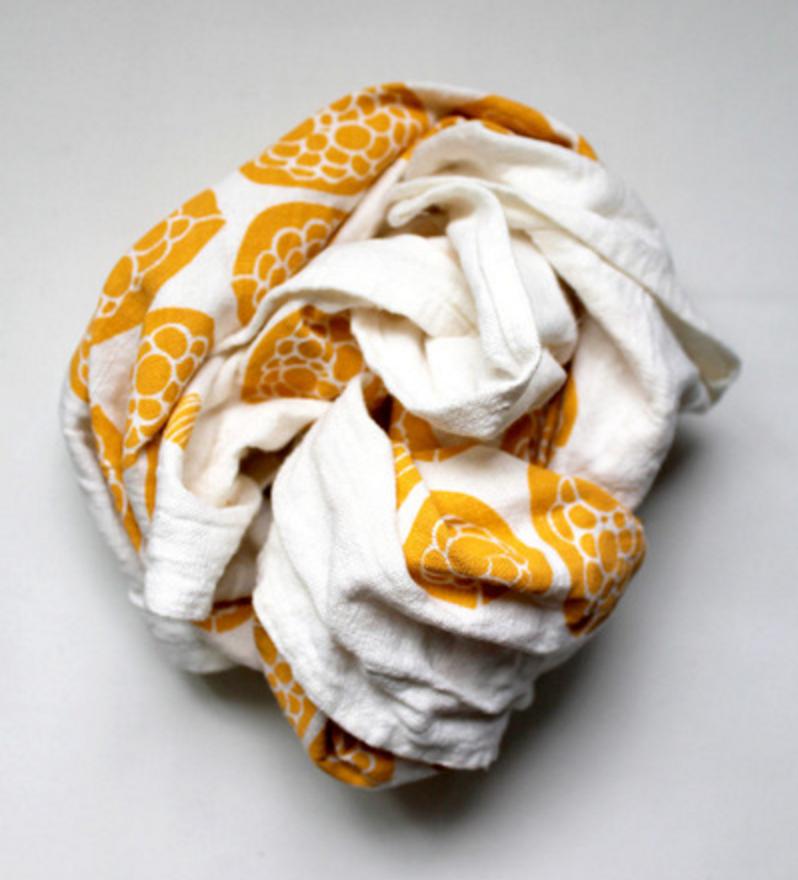 Gaawaa Miyay's Gwibiirr (Bush Passionfruit) printed tea towel.Photo by Gaawaa Miyay