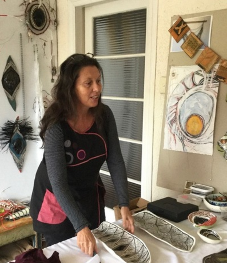 Penny Evans works in her home studio.Photo by Neshko Garch