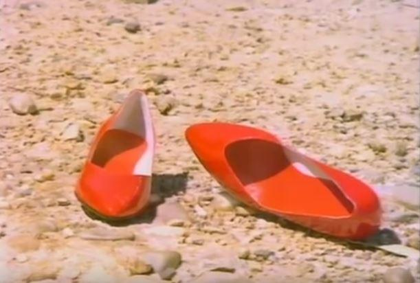 """""""Put on your red shoes and dance the blues"""". The red shoes from the Let's Dance video clip."""