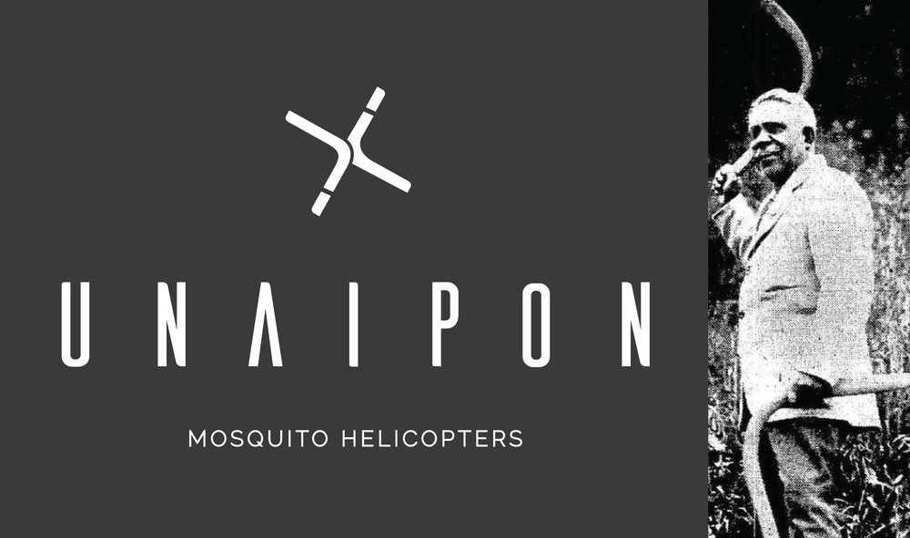 Unaipon Helicopter logo and David Unaipon holding two of his Boomerangs