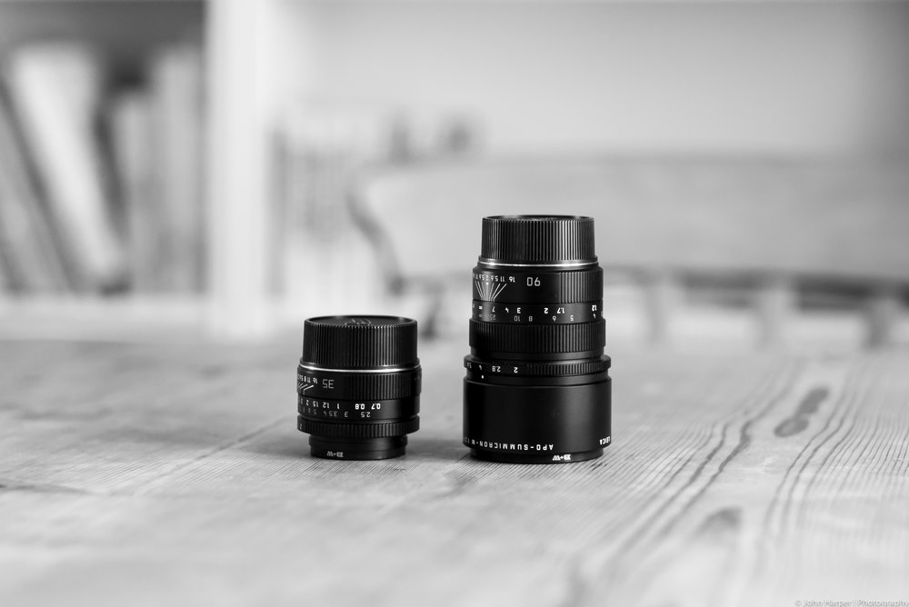 35mm compared with a 90mm