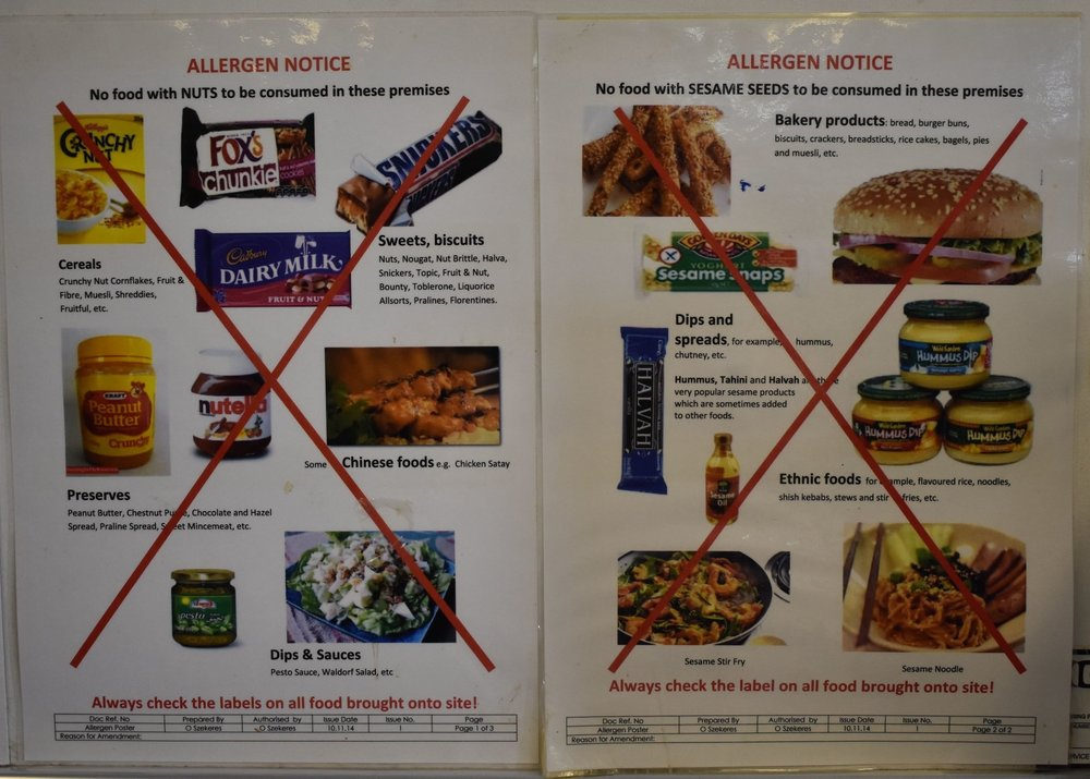 Allergen notice as soon as you walk in Fosters Bakery, there are also notices in the canteen