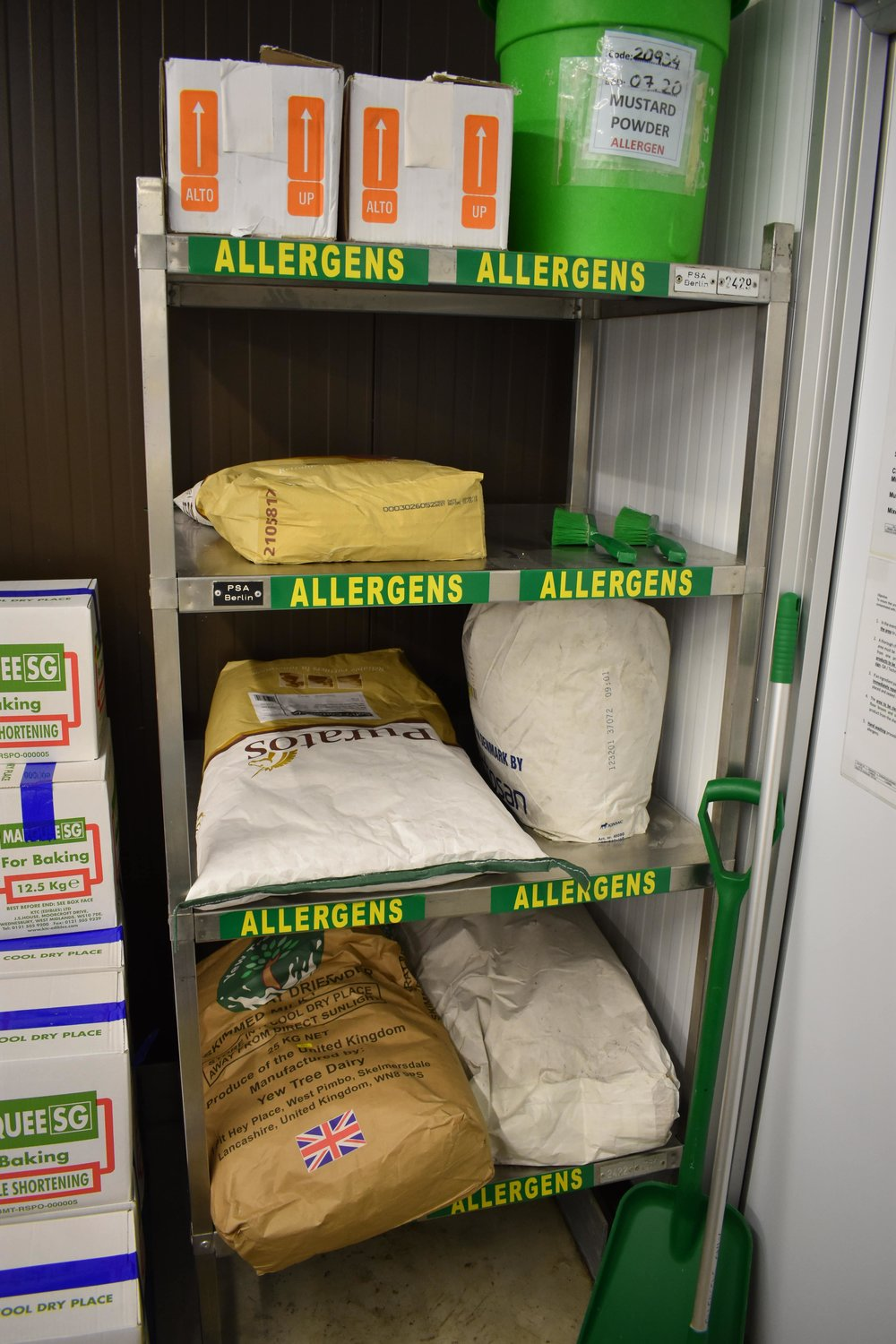 Our allergen area in the ingredients section of our bakery