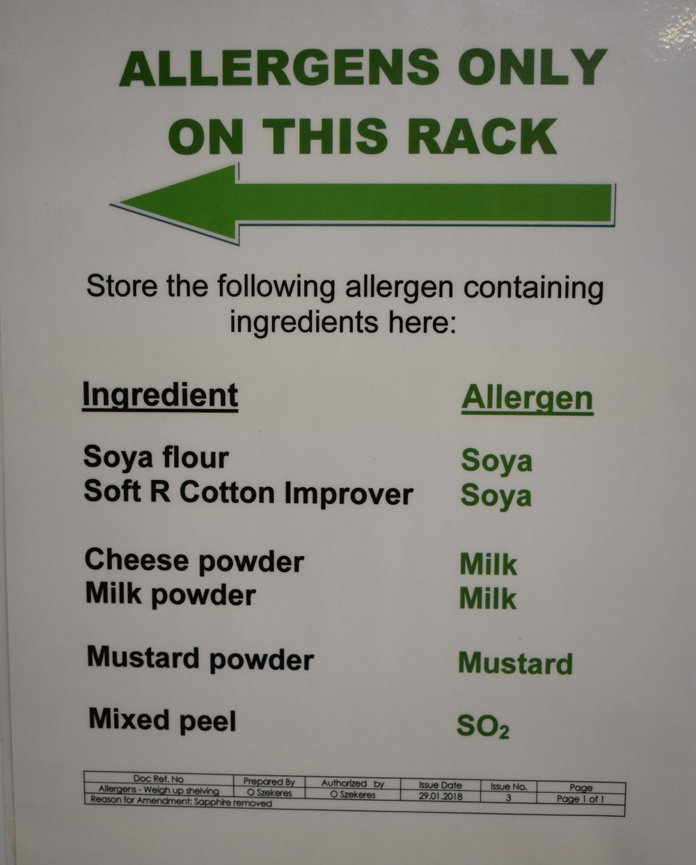 Clear instructions for placing allergen containing ingredients on the allergen shelf