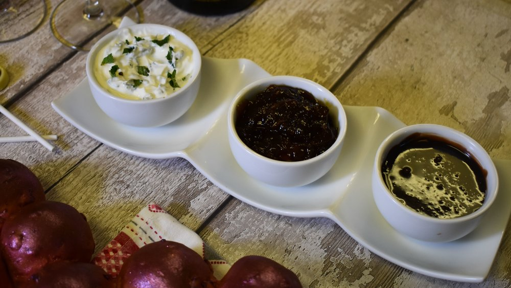 Dips (left to right): mint and yoghurt, caramelised onion and chocolate ganache