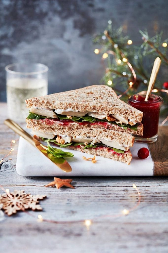 VEGAN NO TURKEY FEAST ON MALTED BROWN BREAD - M&S have swapped their turkey for soya protein in this Vegan No Turkey Feast. They have paired their 'furkey' (fake turkey) with cranberry chutney and spinach on malted brown bread. This sandwich has been rated 5 out of 5, one of the best high street sandwiches and an 'excellent alternative for vegans'. M&S have used a meat replacement which has a texture similar to chicken unlike many of the other vegan sandwiches on offer, making this a exciting alternative vegan sandwich.
