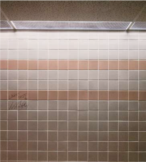 "The above photograph shows the effect of overhead lighting panels mounted next to the wall resulting in ""wall wash"". This harsh lighting technique creates harsh shadows that accentuate any irregularities in the surface of the tile."