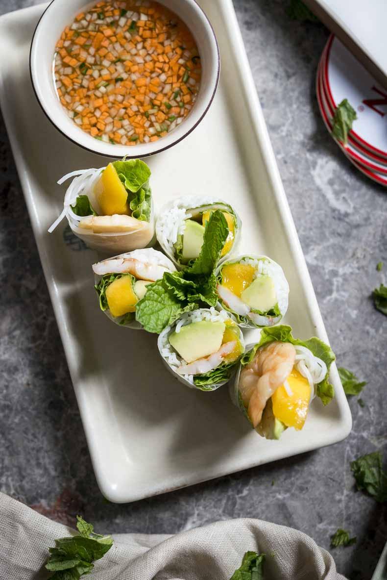 This is Chôm Chôm's Shrimp Rice Paper Roll, featuring vermicelli noodles, mango, avocado and mint. Photo courtesy of Chôm Chôm.
