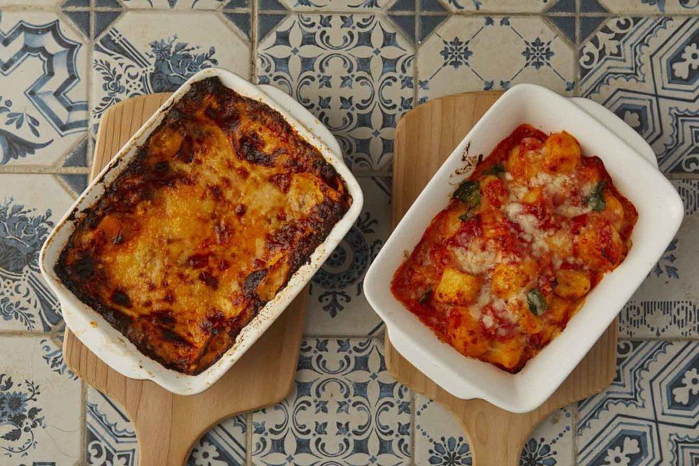 Classic lasagna (left) & oven-baked gnocchi gratin (right).