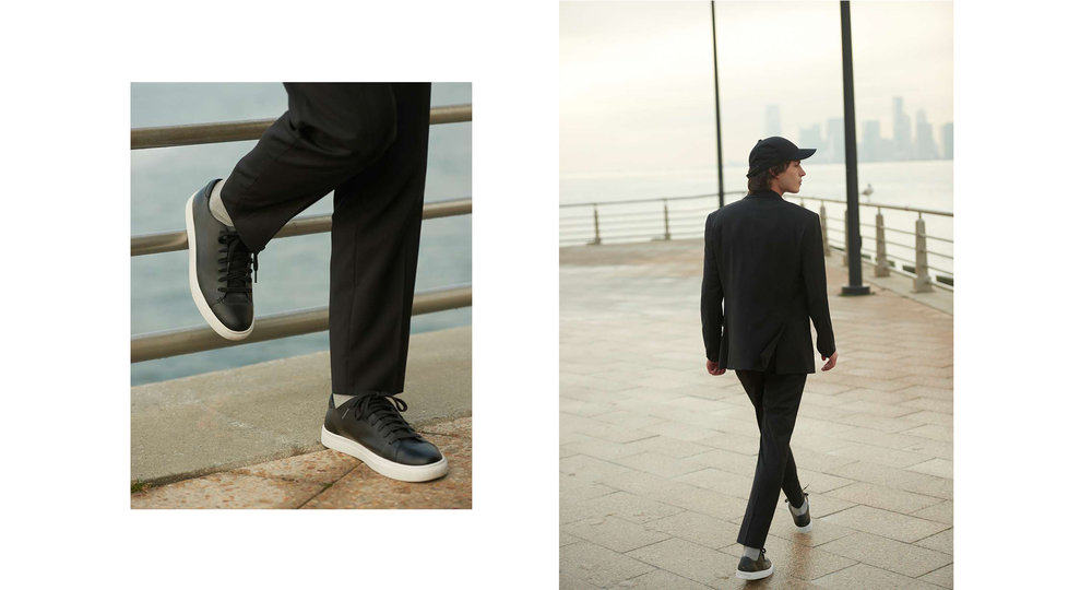 GRANT TROP WOOL TROUSER, CLUB MONACO LEATHER SNEAKER, MIXED MEDIA BASEBALL HAT, GRANT WOOL SUIT BLAZER, GRANT WOOL SUIT TROUSER, CLUB MONACO LEATHER SNEAKER