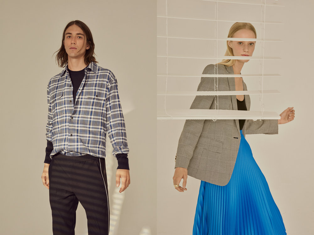 Double Knit Crew, Brushed Plaid Work Shirt, Piped Elastic Pant / Unitard, Borrem Blazer, Annina Skirt