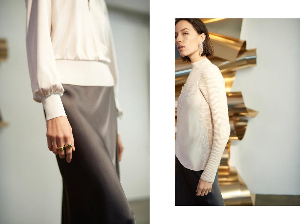 Carlola Top HK$1,490, Trycia Skirt HK$1,690 / Margee Cashmere HK$3,290