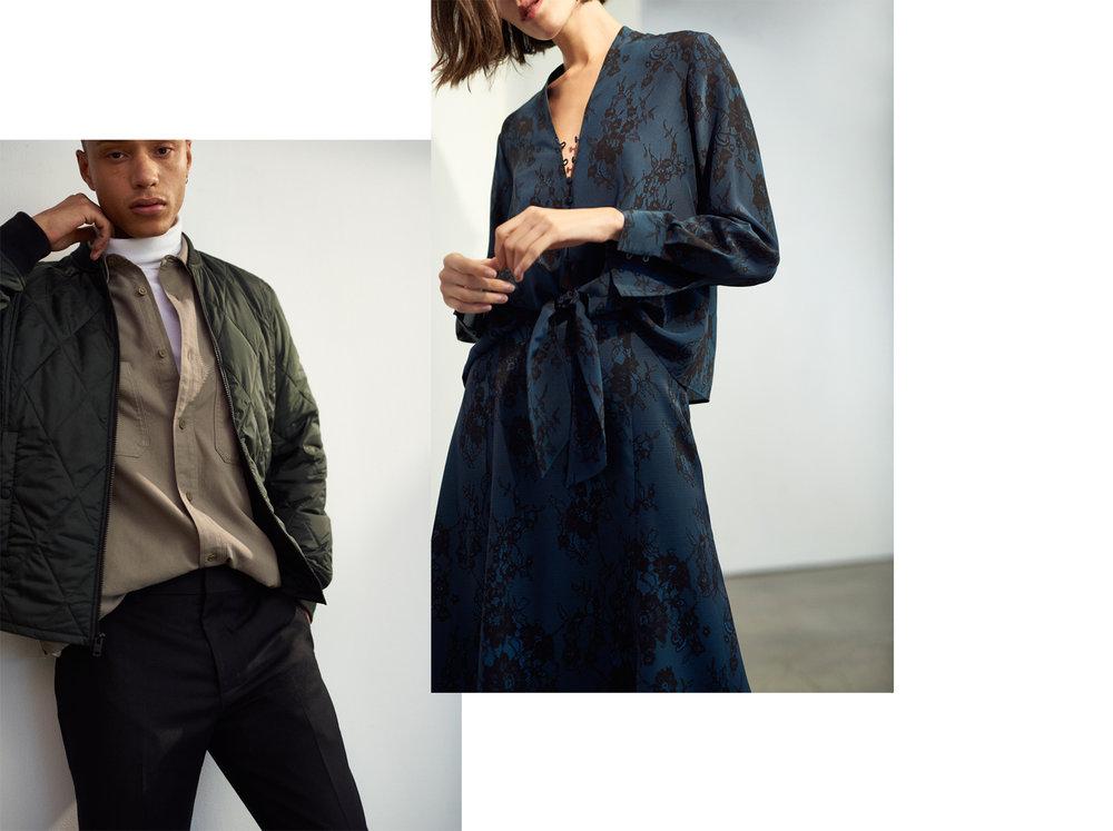 Quilted Jacket HK$2,290, Coverlock Turtleneck HK$990, Long-Sleeve Workshirt HK$1,090, Drain Pipe Pant hk$1,990 / Harlann Silk Top HK$1,690, Rinty Skirt HK$1,890